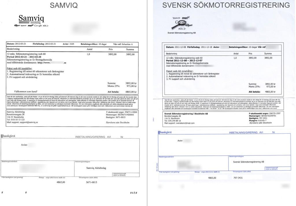 Jämförelse - Samviq / Svensk Sökmotorregistrering