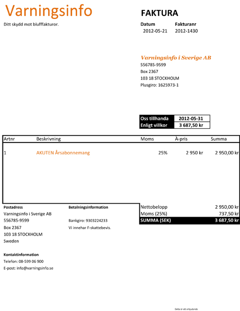 Faktura - Varningsinfo (Bankgiro)