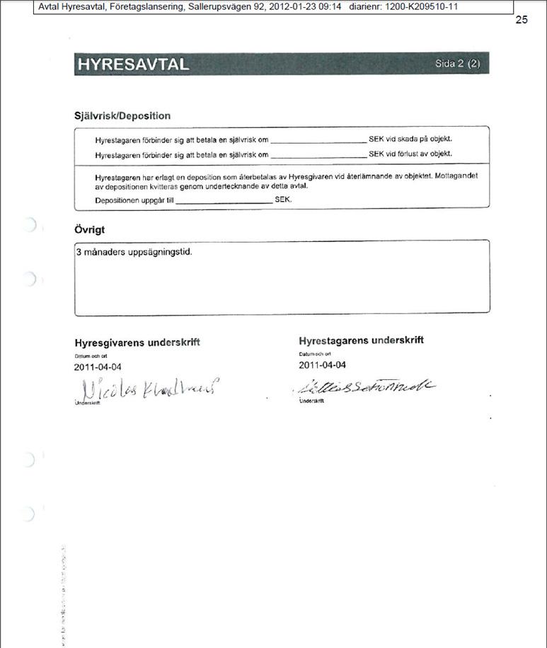 Signerat hyresavtal (Extensium- Hitta Företagen)