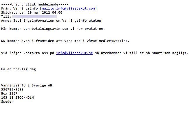 E-mail - Varningsinfo (bankgiro)
