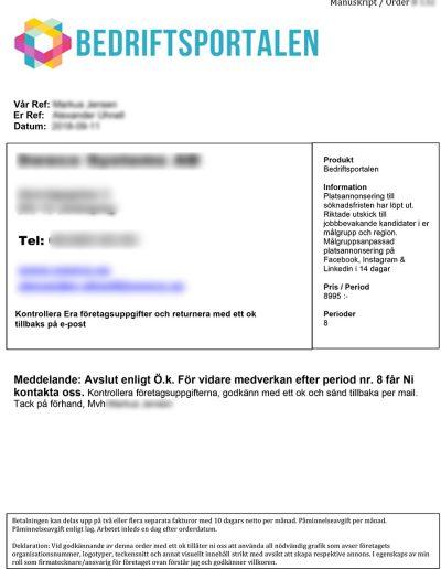 Bedriftsportalen Svenska Konceptutveckling AB Manuskript Order 2019