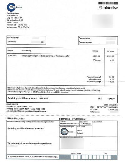 Bolagsupplysningen ESB Inkasso 2014