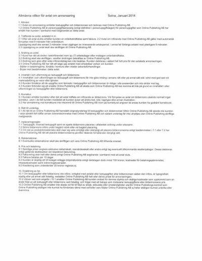 Företagsupplysningen Online Publishing Allmänna villkor 2014