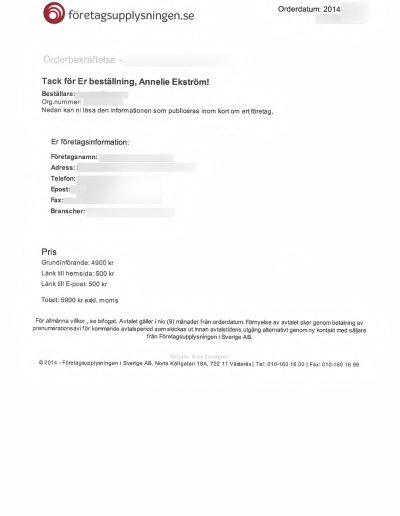 Företagsupplysningen.se Företagsupplysningen i Sverige AB Orderbekräftelse 2014