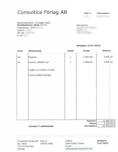 Kommunfakta Consultica Förlag AB Faktura 2016