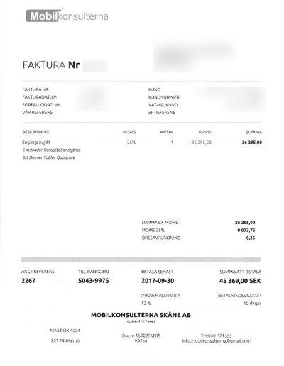 Mobilkonsulterna Mobilkonsulterna Skåne AB Faktura 2017