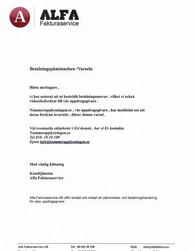 Nummerupplysningen Alfa Fakturaservice AB Påminnelse (6)