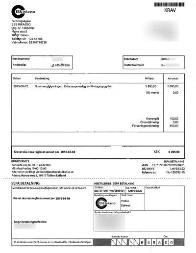 Nummerupplysningen.se Nummerupplysningen OÜ ESB Inkasso Faktura Krav 2016 (21)