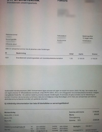 DK Brandteknik DilipKim Consulting & Trade AB Faktura 2013