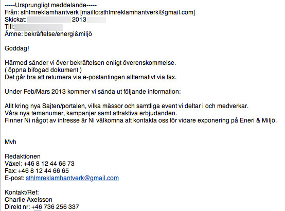 Energi & Miljö Sthlm Reklamhantverk & Produktion AB Mail 2013