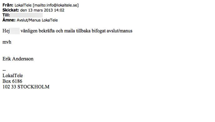 Lokaltele.se Bediana Kommanditbolag Brev 2013