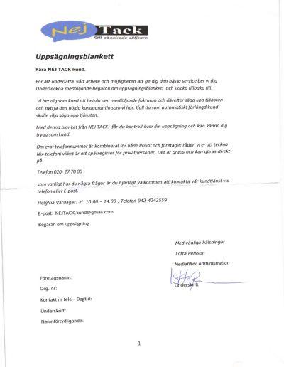 Nej Tack (2012) Företagsservice Uppsägningsblankett - Nej Tack (2012)