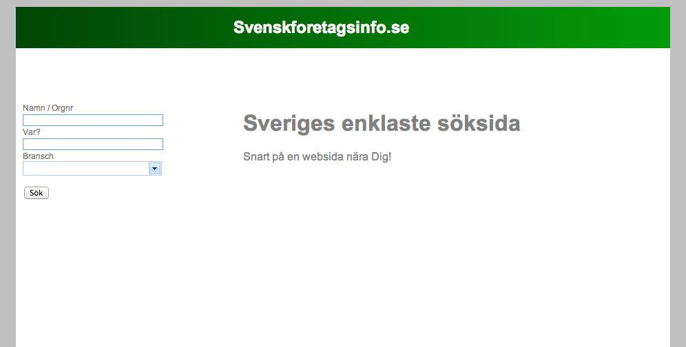 Svensk Företagsinfo Hemsida