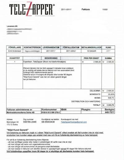 TeleZapper Marknadskonsulterna Solna AB Faktura 2011