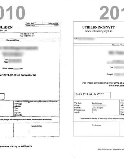 Utbildningsnytt Sthlm Reklamhantverk & Produktion AB Jämförelse 2010 2012