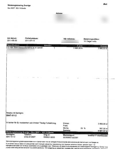 Webbregistrering Sverige MB Marketing Avi 2011